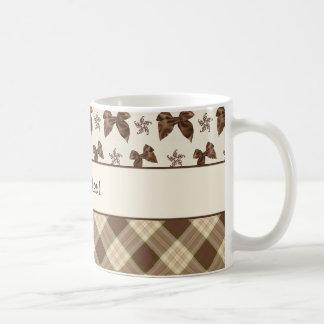 Brown Checks & Beautiful Bows Coffee Mug