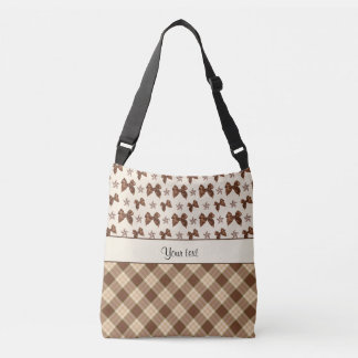 Brown Checks & Beautiful Bows Crossbody Bag