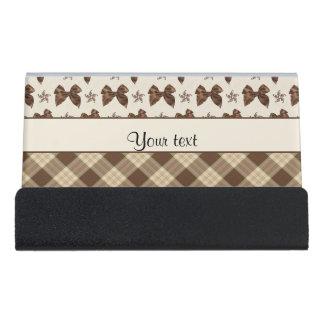 Brown Checks & Beautiful Bows Desk Business Card Holder