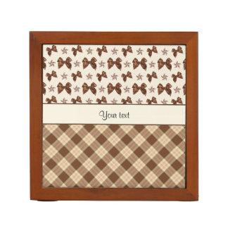 Brown Checks & Beautiful Bows Desk Organiser