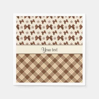 Brown Checks & Beautiful Bows Disposable Napkin