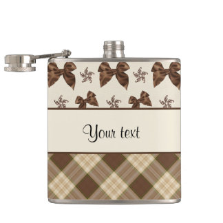 Brown Checks & Beautiful Bows Hip Flask