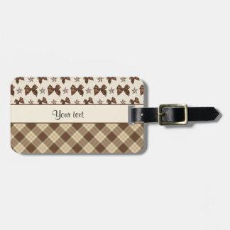 Brown Checks & Beautiful Bows Luggage Tag