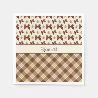 Brown Checks & Beautiful Bows Paper Napkins