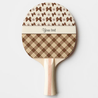 Brown Checks & Beautiful Bows Ping Pong Paddle