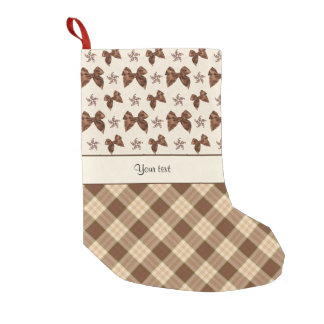 Brown Checks & Beautiful Bows Small Christmas Stocking