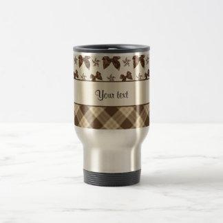Brown Checks & Beautiful Bows Travel Mug