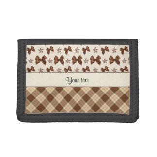 Brown Checks & Beautiful Bows Tri-fold Wallets