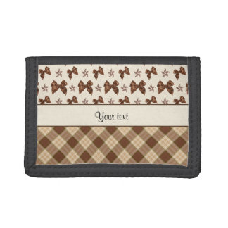 Brown Checks & Beautiful Bows Trifold Wallet