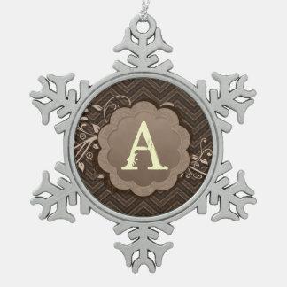 Brown Chevron on Burlap with Monogram Snowflake Pewter Christmas Ornament