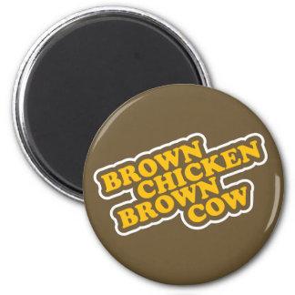Brown Chicken Brown Cow 6 Cm Round Magnet