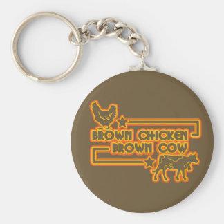 Brown Chicken Brown Cow Basic Round Button Key Ring