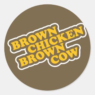 Brown Chicken Brown Cow Classic Round Sticker