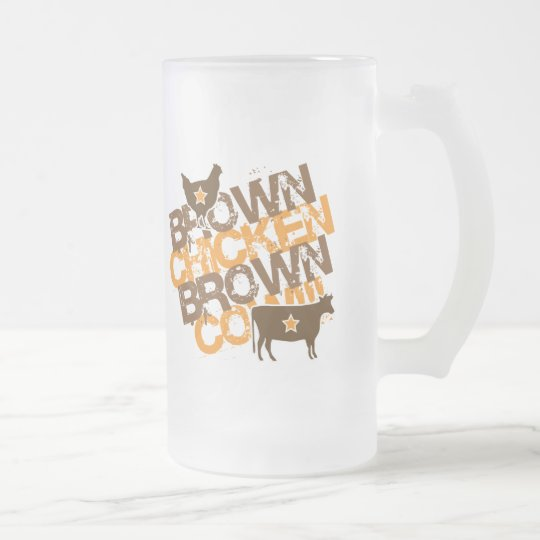 Brown Chicken Brown Cow - Vintage Orange Frosted Glass Beer Mug