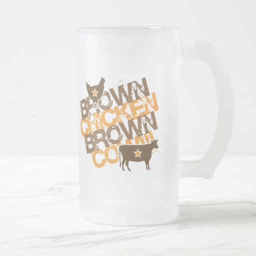 Brown Chicken Brown Cow - Vintage Orange Frosted Glass Mug