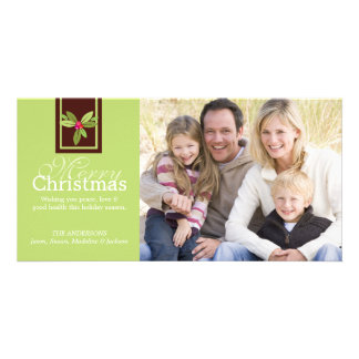 Brown Christmas Holly Photo Card