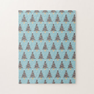 Brown Christmas Trees w/Snow and Blue Background Jigsaw Puzzle