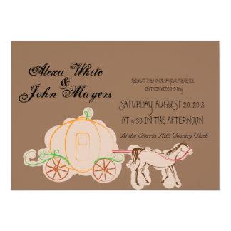 brown cinderella wedding invitation