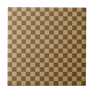 Brown Classic Checkerboard by Shirley Taylor Small Square Tile