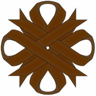 Brown Clover Ribbon Photo Sculpture Key Ring