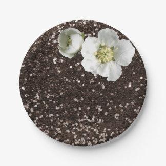 Brown Coffe Sequin Floral White Jasmine Glitter Paper Plate