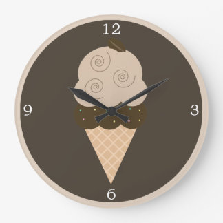 Brown Coffee Bean Ice Cream Cone Large Clock