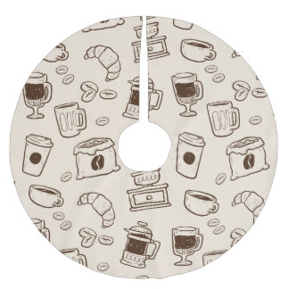 Brown coffee beans illustrated elements pattern brushed polyester tree skirt