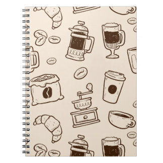 Brown coffee beans illustrated elements pattern notebooks