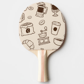 Brown coffee beans illustrated elements pattern ping pong paddle