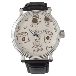 Brown coffee beans illustrated elements pattern watch