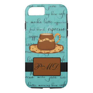 Brown Coffee Cup Art Script Turquoise Monogram iPhone 8/7 Case