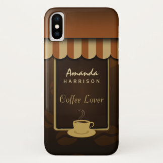 Brown Coffee Lover Cafe Shop Front Awnings Tough iPhone X Case