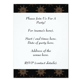 Brown Cogs. Fractal Circles Pattern. 17 Cm X 22 Cm Invitation Card