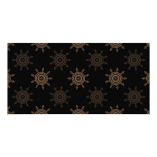 Brown Cogs. Fractal Circles Pattern. Photo Card Template