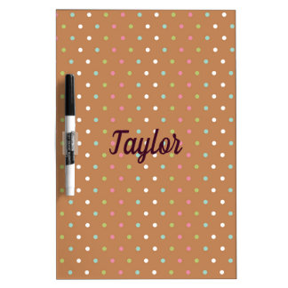 Brown colorful polka dots dry erase board