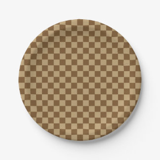 Brown Combination Classic Checkerboard Paper Plate