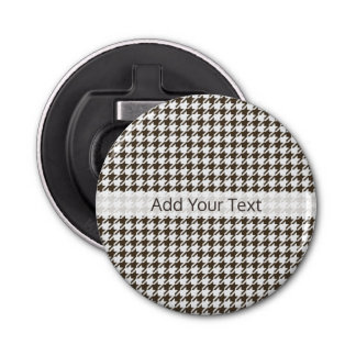 Brown Combination Houndstooth by Shirley Taylor Bottle Opener