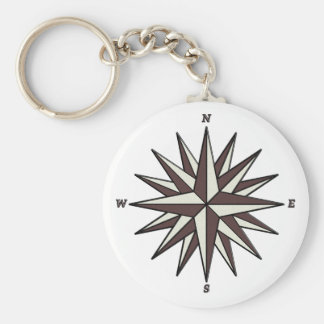 Brown Compass Rose Key Ring