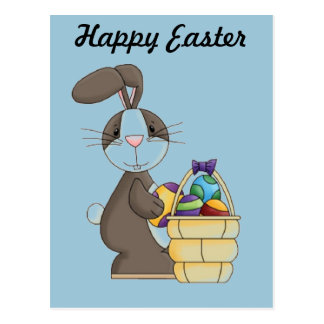 Brown Cottontail Bunny with Basket of Eggs Postcard