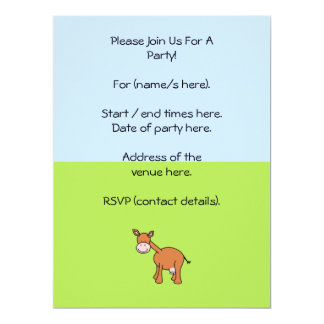 Brown Cow Cartoon. 17 Cm X 22 Cm Invitation Card