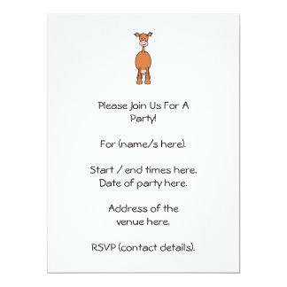 Brown Cow Cartoon. Front. 17 Cm X 22 Cm Invitation Card