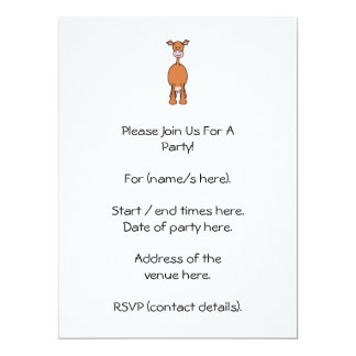 "Brown Cow Cartoon. Front. 6.5"" X 8.75"" Invitation Card"