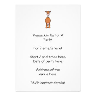 Brown Cow Cartoon Front Personalized Announcement