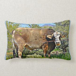Brown Cow Cotton Throw Lumbar Pillow