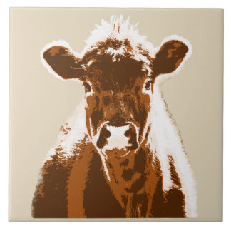 Brown Cow Farm Animal Large Square Tile