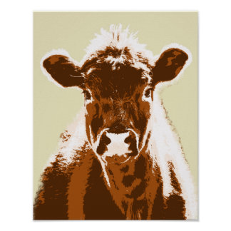 Brown Cow Farm Animal Poster