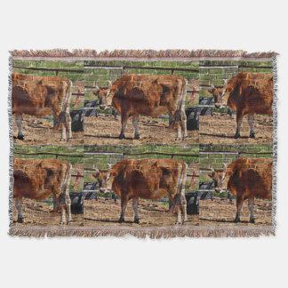 Brown Cow in Bricks Throw Blanket