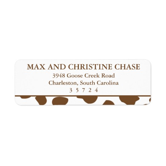 Brown Cow Print Pattern Labels