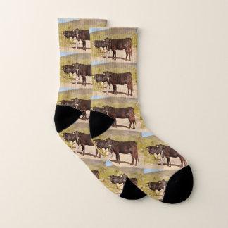 Brown Cows in Chrome Unisex Socks 1