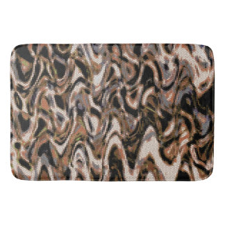Brown, Cream and Black Abstract Reptilian Pattern Bath Mat